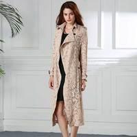 Для женщин новые пикантные модные кружево Хаки длинная верхняя одежда выдалбливают See Through Элегантный Slim Fit Тренч Дамы халат жилет женский