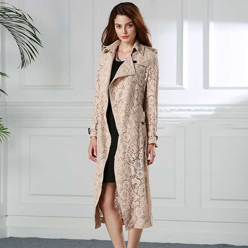 Women New Sexy Fashion Lace Khaki Long Outwear Hollow Out See Through Elegant Slim Fit   Trench   Coat Ladies Robe Waistcoat Female