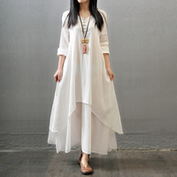 Vintage Women Double Layers Long Spring Fall Loose Linen Maternity Tops Maxi Tunic White Red Dress