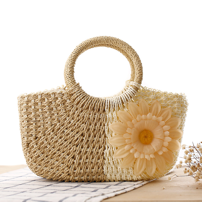 2019 패션 작은 여름 가방 여성 꽃으로 짚 핸드백을 짠 Bolsas Feminina 손수 다채로운 여성 비치 가방 지퍼