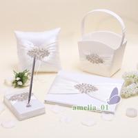 4Pcs/set Top quality Satin rhinestone Wedding Decor Ring Pillow Flower Basket Garter Guest Book Pen Set bride Products Supplies