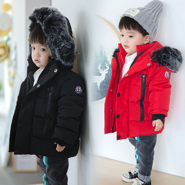 Big Promo Baby Boys Jacket 2018 Autumn Winter Jackets for Boys 1-5 Years Kids Fur Collar Hooded Warm Outerwear Coats for Boys Clothes