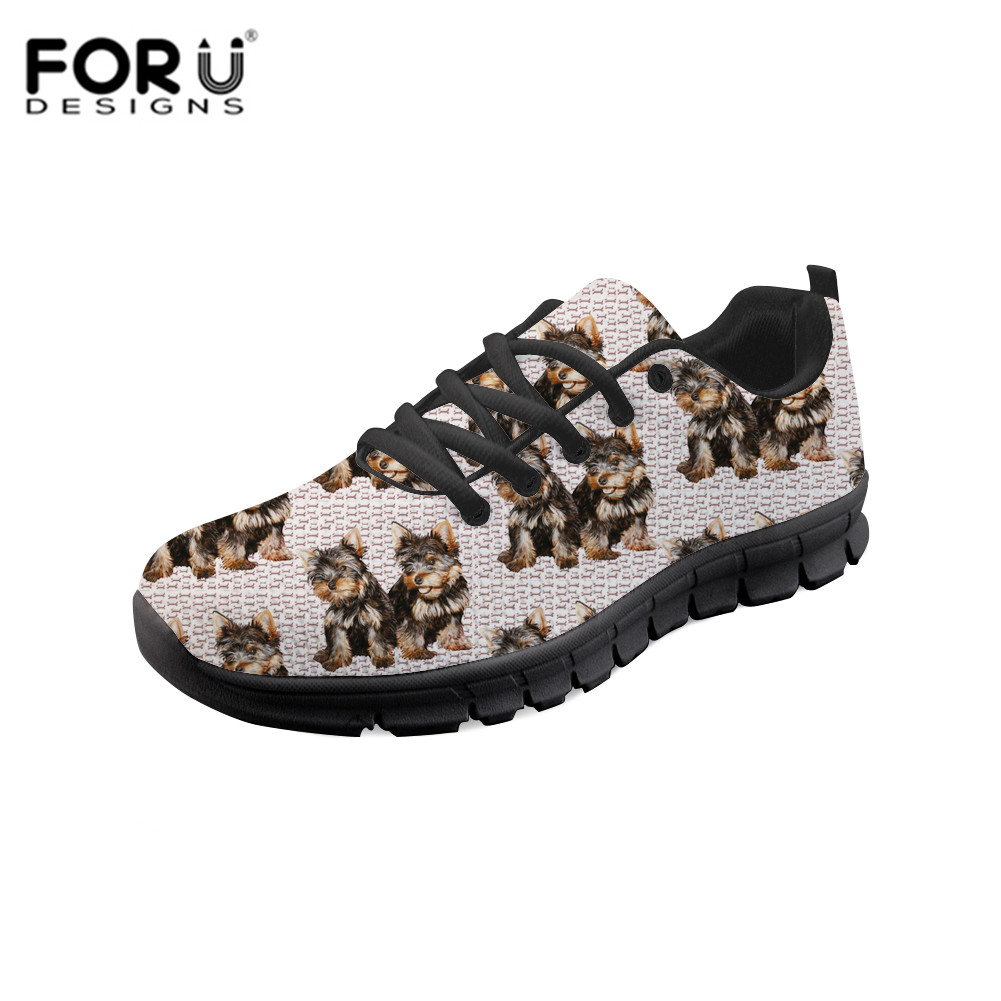 FORUDESIGNS Spring/Autumn Women Vulcanized Shoes Fashion Yorkie Print Ladies Casual Sneakers Female Classic Lace Up Flat Shoe недорого
