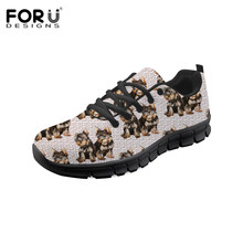FORUDESIGNS Spring/Autumn Women Vulcanized Shoes Fashion Yorkie Print Ladies Casual Sneakers Female Classic Lace Up Flat Shoe