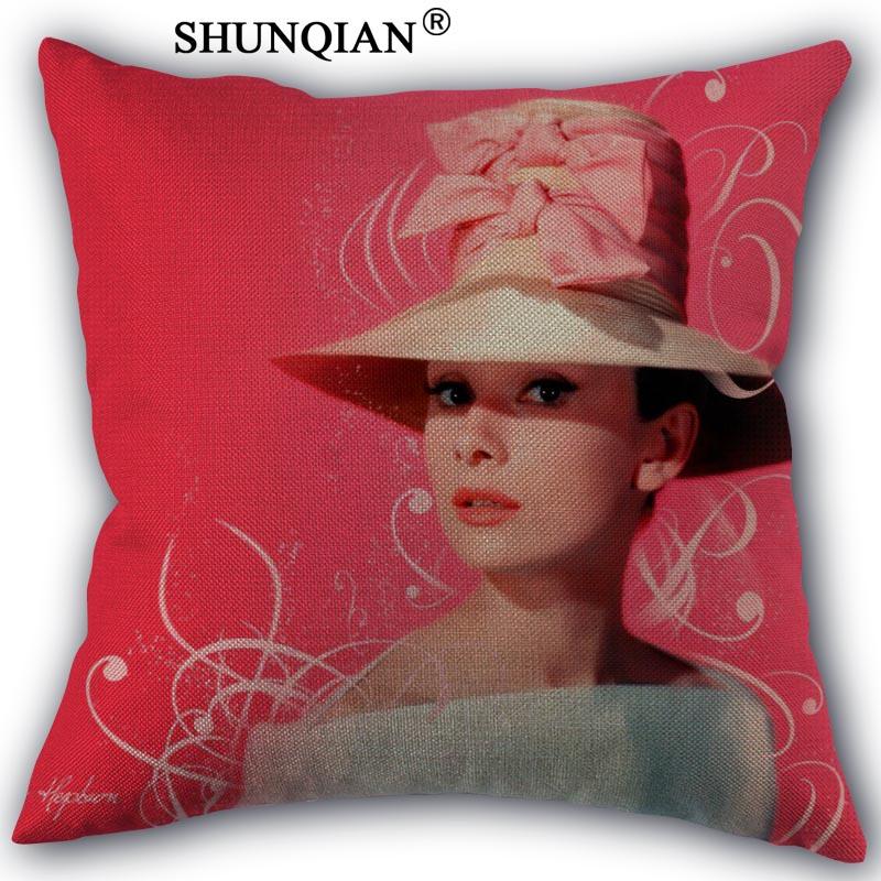 Custom Audrey Hepburn Pillowcase Custom cotton pillowcases decorative beauty Home Furnishing customized pillow