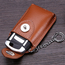 BYCOBECY Real Genuine Leather Car Key Holder Mini Wallet Men Housekeeper