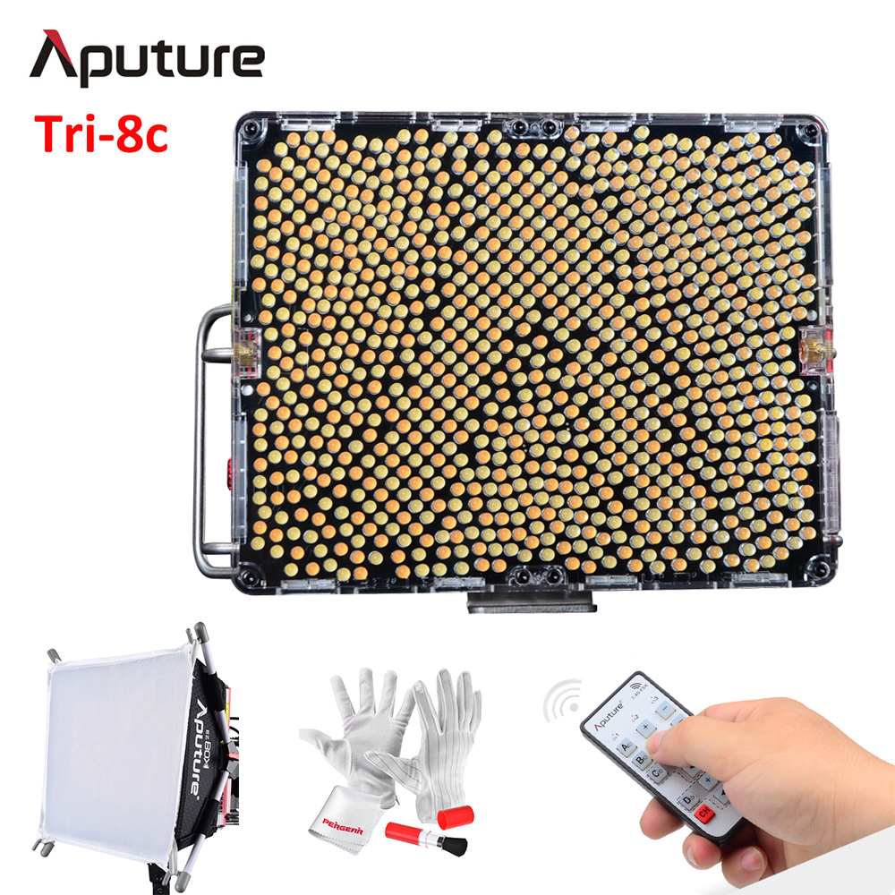 Aputure Amaran Tri-8c 2300-6800K Bi-Color Dimmable Led Video Light with EZ Box Diffuser Batteries 2.4G Remote Control V-Mount