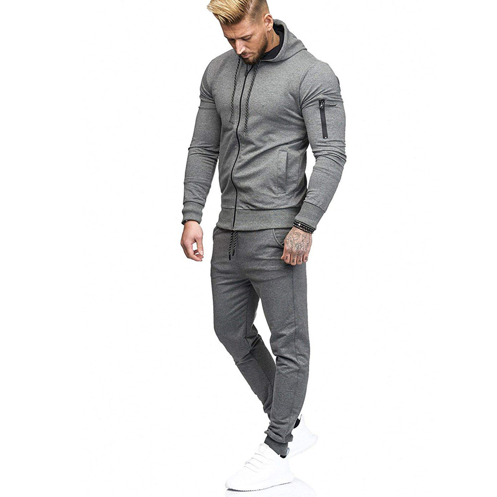 HTB1SDAYKkKWBuNjy1zjq6AOypXa6 2019 fashion Patchwork Zipper Sweatshirt Top Pants Sets Sports Suit solid color slim Tracksuit High Quality Pullover clothing
