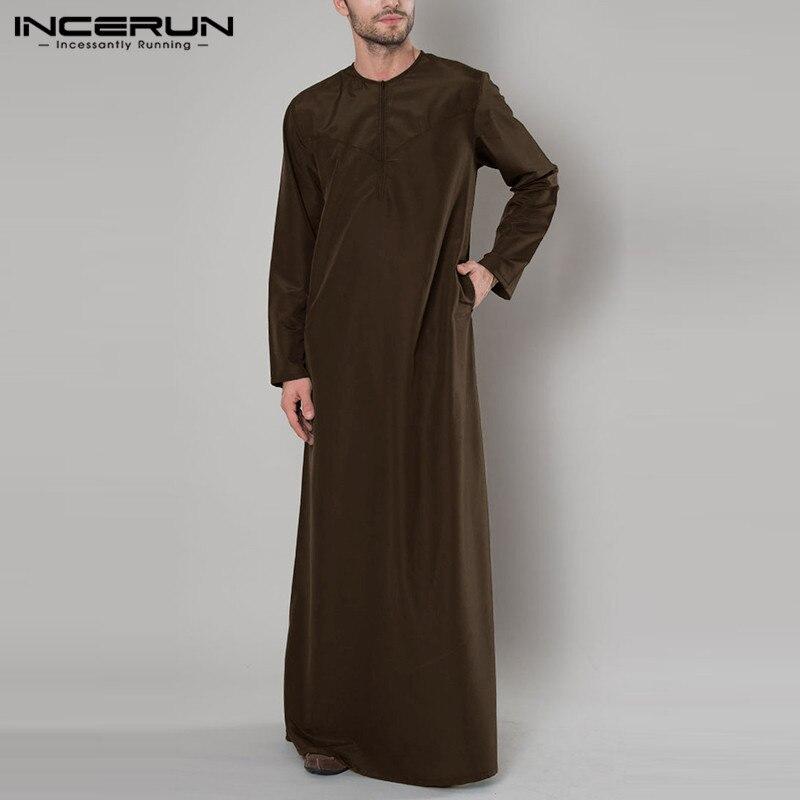 Islamic Arabic Muslim Kaftan Men Long Sleeve Zipper Loose O Neck Abaya Robes Saudi Arabia Men Jubba Thobe Caftan 2020 INCERUN