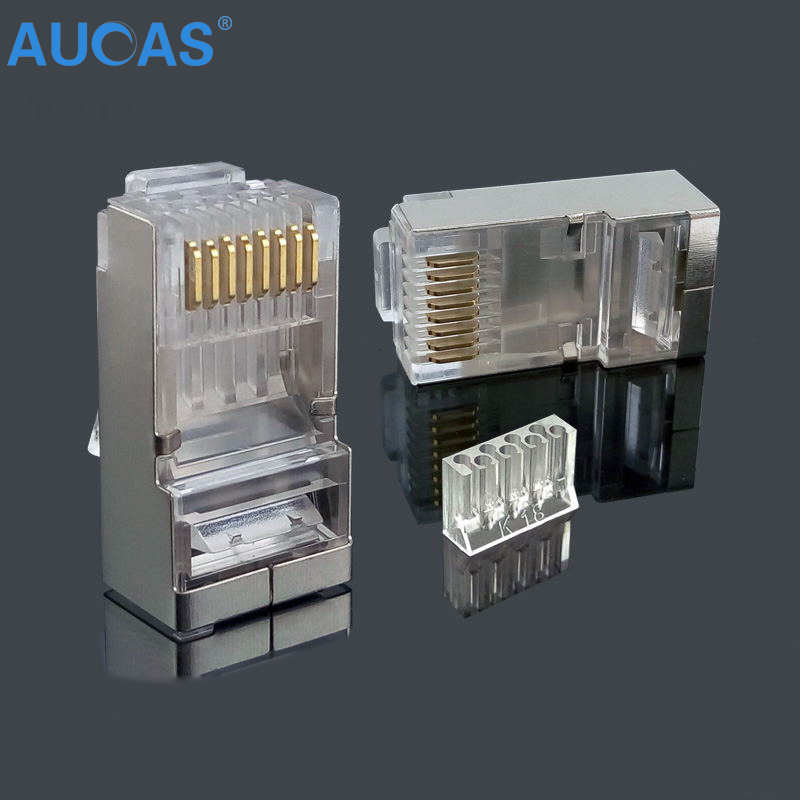 AUCAS high quality 50pcs 100pcs rj45 connector plug cat6 shielded 8p8c rj45 cat6 network modular Free Shipping imc hot 10 pcs rj45 8p8c double ports female plug telephone connector
