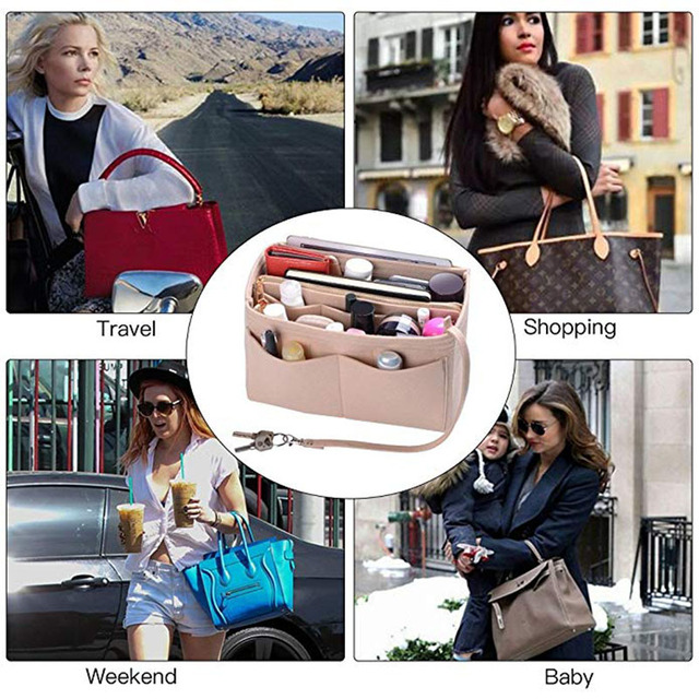 Felt Cloth Handbag Insert Bag Makeup Organizer Travel Portable Cosmetic Bags Storage Bag Inner Purse Fits in Speedy Neverfull 6
