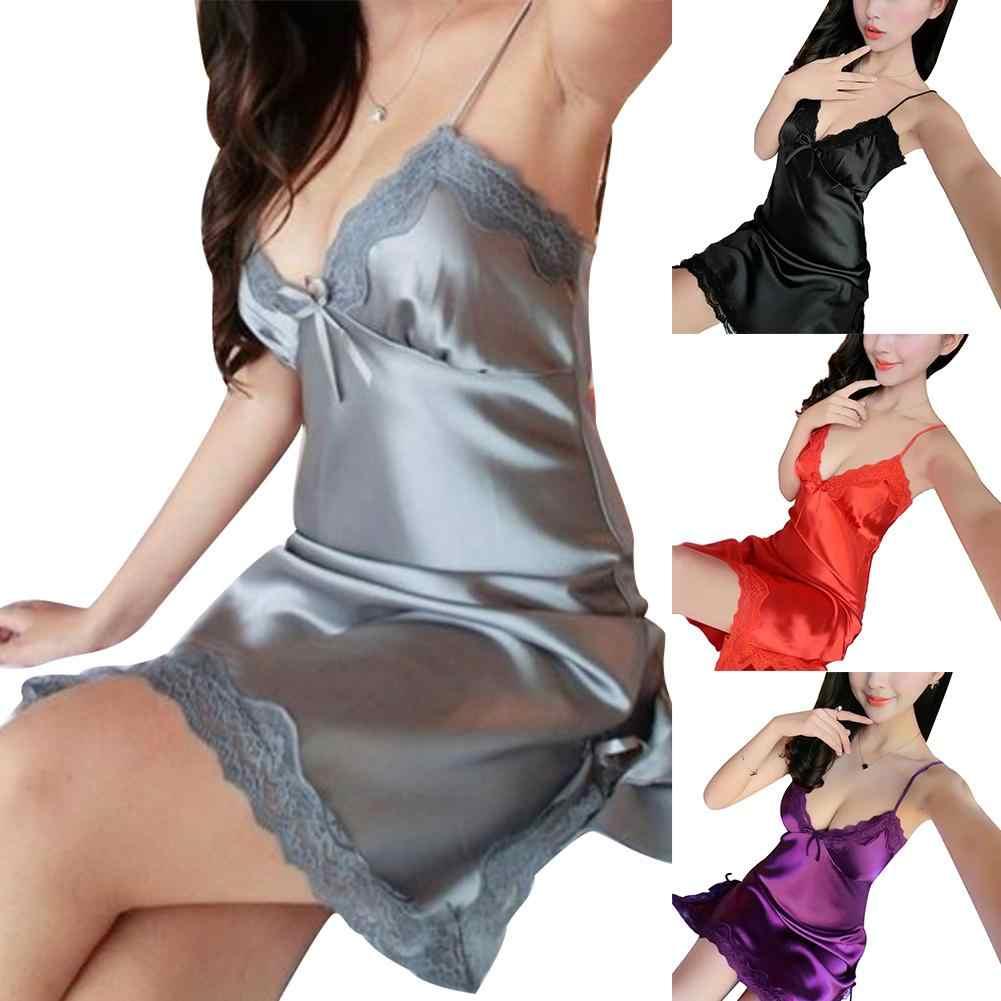 2019 женское летнее платье повседневное атласное сексуальное платье на бретелях Camisol платье средней длины сплошное платье с глубоким v-образным вырезом и кружевной отделкой шелковое платье Babydoll