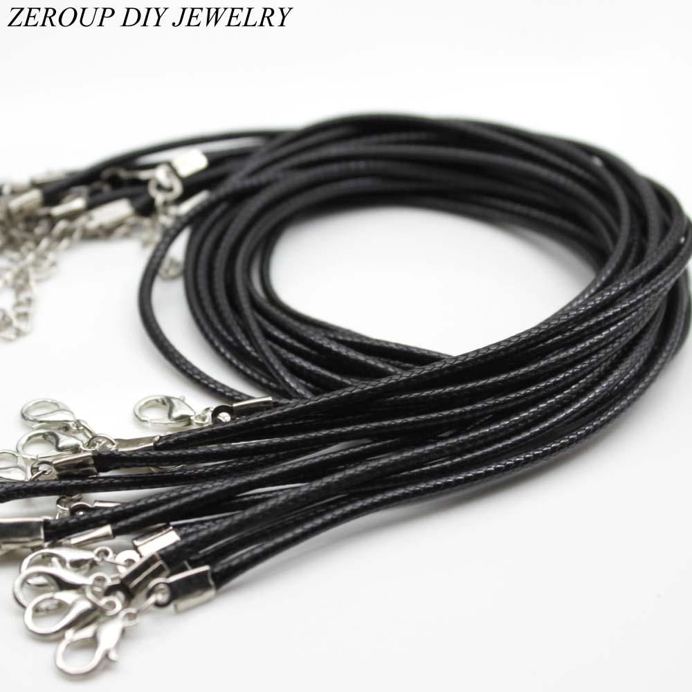 ZEROUP Handmade Adjustable Black Leather Cord Lobster Clasp Chain Pendant Necklace Charms For Jewelry Finding 20pcs/lot