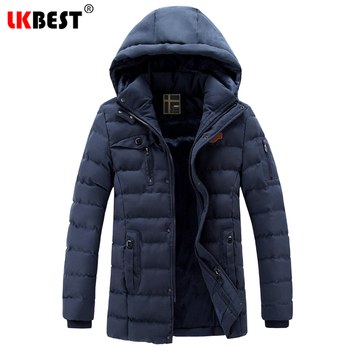 LKBEST 2019 New men's winter jacket cotton thick men coat Hooded warm winter men parka European size outerwear overcoat PW616