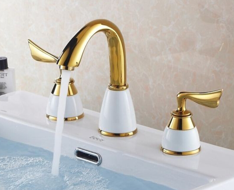 Free shipping New Design 3Pcs Gold Polished Solid Brass white ceramic Bathroom Basin Sink Mixer Tap Basin Faucet BF900 free shipping gold clour solid brass bathroom sink faucet new bathroom mixer tap square design