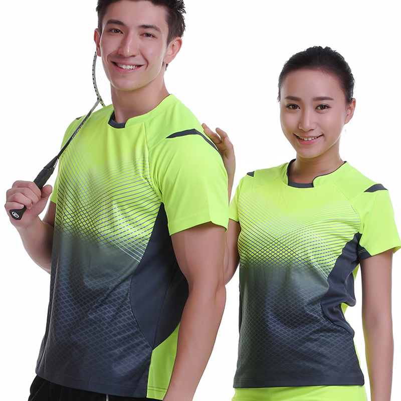New Sportswear Quick Dry breathable badminton shirt , Women / Men table tennis shirt clothes team game short sleeve T Shirts men all over florals shirt