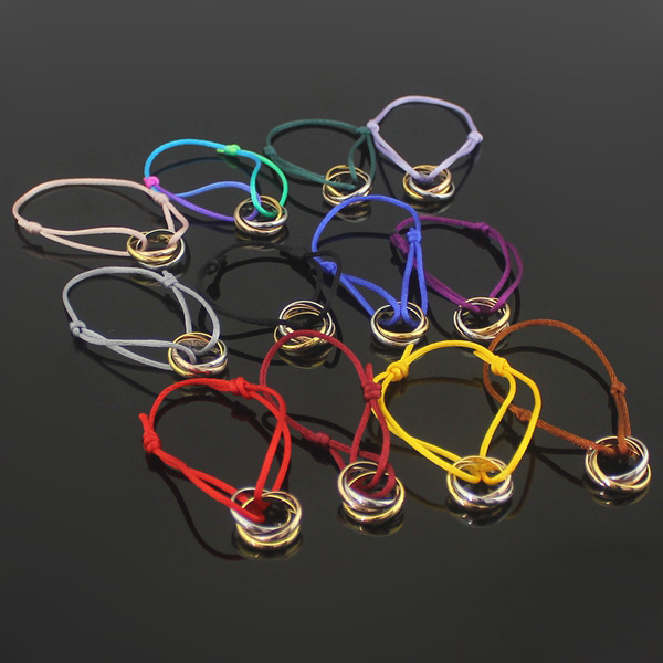 High quality titanium steel carter love bracelet hand three circle color rope hot Red String Bracelet multi-color selection