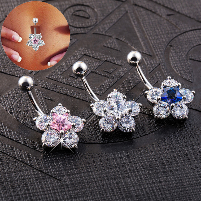 Dárkový balíček Star Piercing Falso Šperky Piercing Body Percing Labret Sexy Piercing Navel Belly Ring Purple Blue Clear Pink
