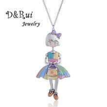 Vintage Handmade Doll Necklace For Women Cute Enamel Alloy Bowknot Girl Pendant Long Chain New Fashion Jewelry Accessories цена в Москве и Питере