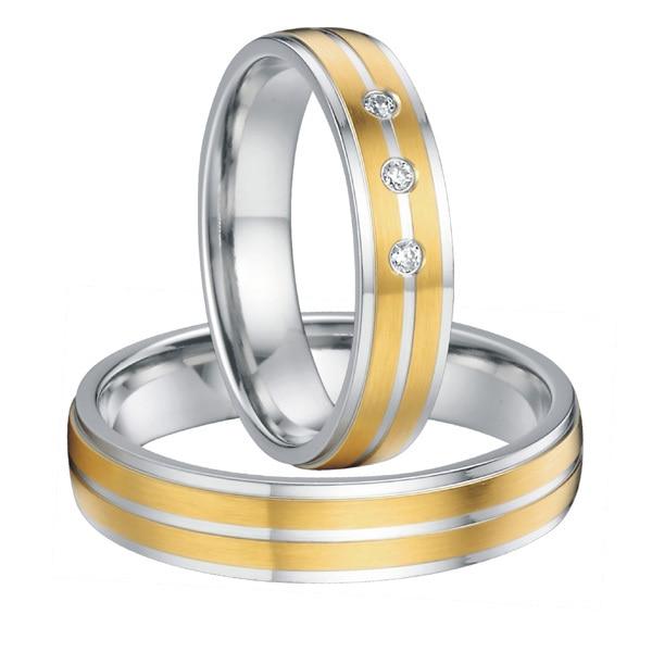 Пользовательские его и ее Титановый стальной свадебный браслет навсегда любовное обещание кольца наборы для пар золотого цвета Alliance anel