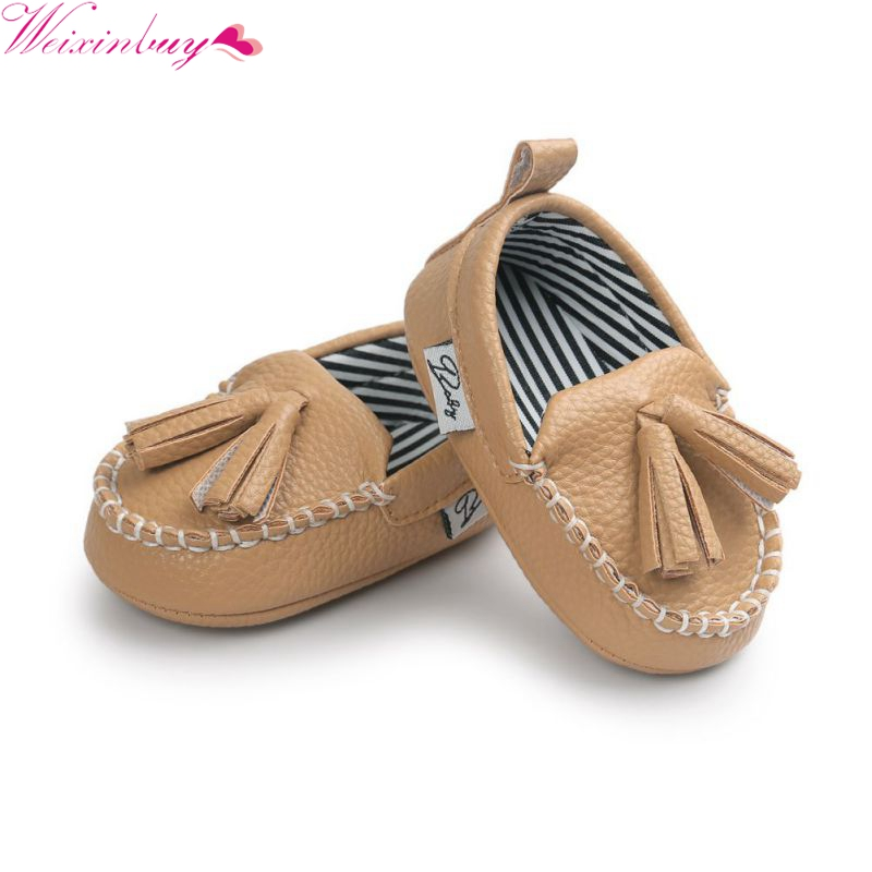 WEIXINBUY Baby Boy Girl First Walkers Infant Toddler Moccasin 0-18M Baby Soft Sole Tassel PU Leather Shoes