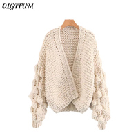 2018 Early Spring Autumn Sweet Women Cardigan Europe The United Fashion Handmade Ball Lantern Sleeve Loose