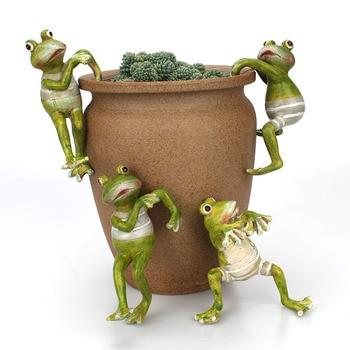 4 יחסט Creative טיפוס צפרדעים בונסאי דקורטיבי לתלות צפרדע חיצוני גן עציץ דקור לבית שולחן גן דקור קישוט