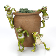 Juego de 4 unidades de ranas de escalada creativas, bonsái decorativo de rana colgante para jardín al aire libre, decoración de maceta para escritorio en casa, adorno de decoración de jardín