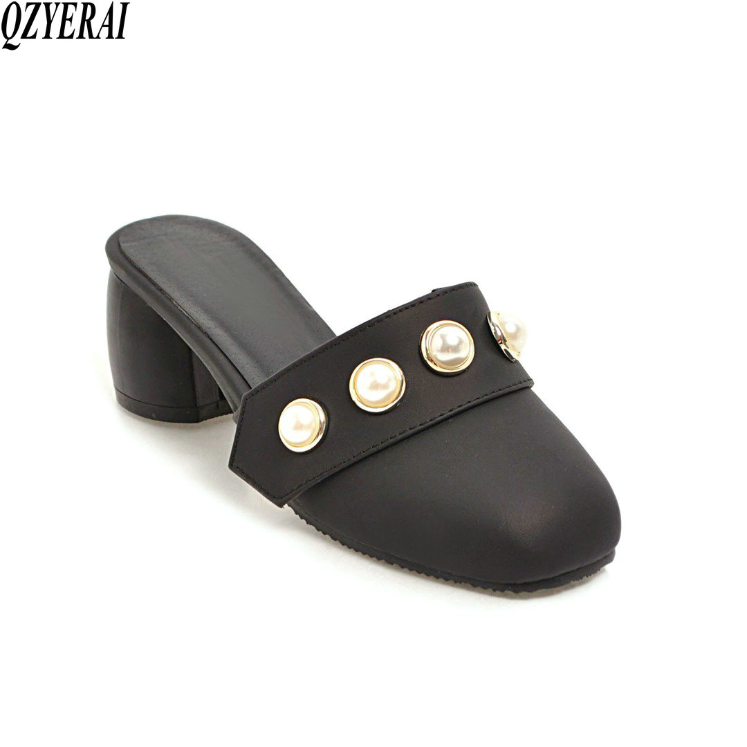 QZYERAI size 34-43. 2018 Summer new slippers fashion slippers pearl shoes comfort cool women's shoes European style qzyerai new to summer summer sexy
