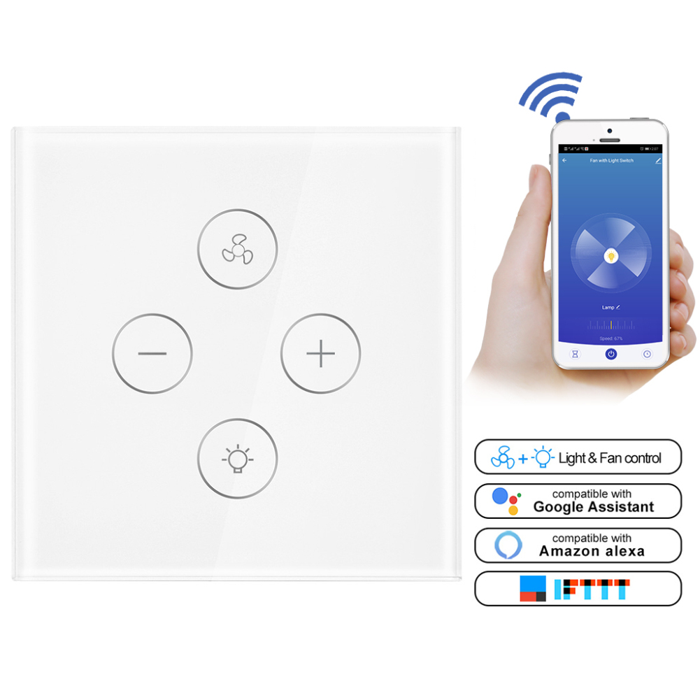 EU Smart Wifi Touch Fan / Lamp Switch Light Remote Control Wall Voice Timer Compatible with Alexa Google Home-in Smart Remote Control from Consumer Electronics