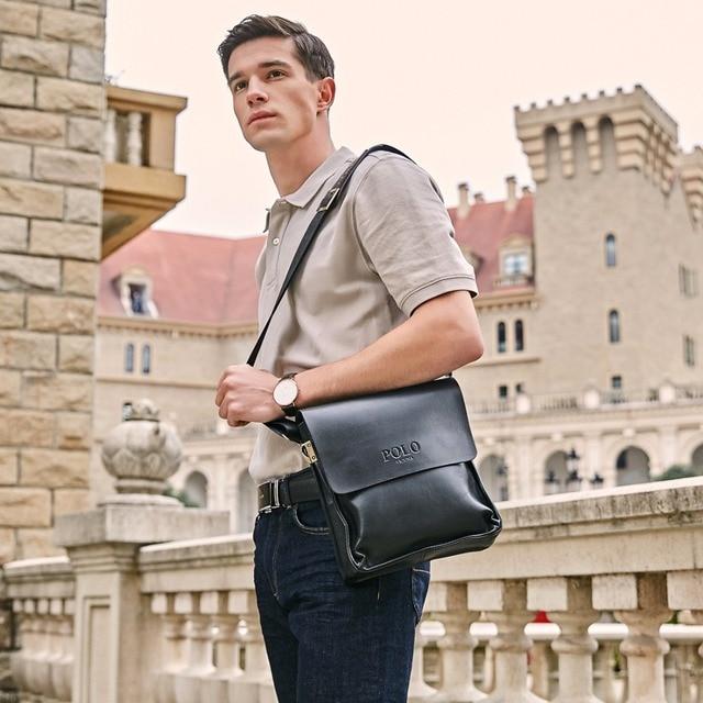 2d5b5811475c ... Famous Brand PU-Leather Men Bag Casual Business Leather Mens Messenger  Bag Vintage Men s Crossbody ...