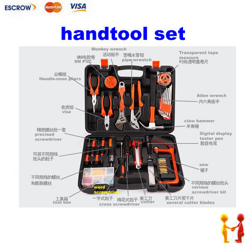 Newest Handtool set for household using, with super wrench, vise, Tape measure etc.. 8 32mm 22pieces metric chrome vanadium crv quick release reversible ratchet combination wrench set gear wrench spanner