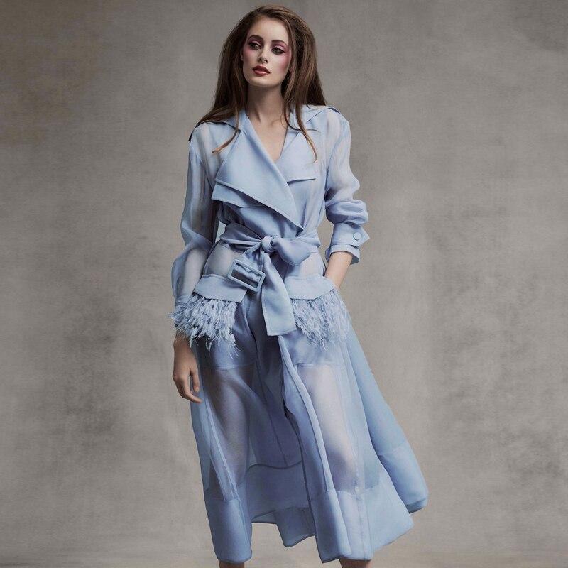 Printemps Robe D'été Nouvelle Piste De Mode 2019 Femmes de Remorquage Pièces Robe Costume Plumes Voile Solaire Ciel Bleu Longue Robe