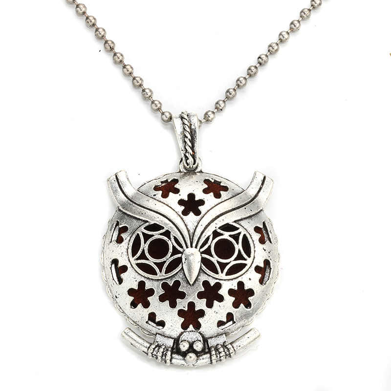 MODKISR Wholesale 30mm Retro Night Owl Magnetic Aromatherapy Diffuser Jewelry Locket Pendant Essential Oil Scent Trendy Necklace