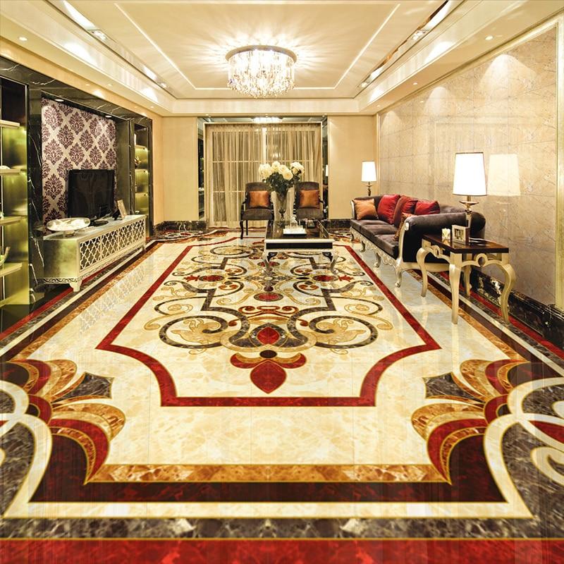 Custom Floor Wallpaper European Style 3D Marble Self-adhesive Waterproof PVC Wall Sticker Living Room Corridor Floor Mural Paper