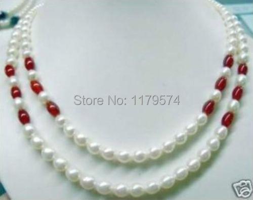 Mujer caliente larga joyería Hermosa! 2 Jade 7-8mm Blanco Perla 2014 fascinante nueva manera del envío libre Collar De Cuentas W0360