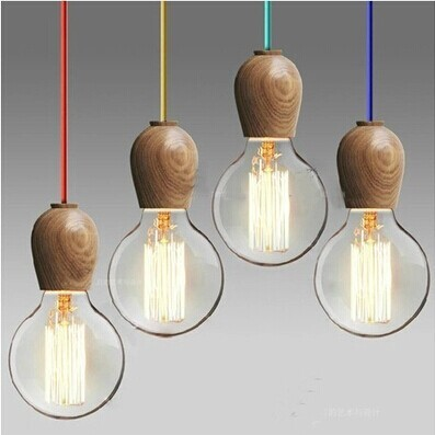 Vintage pendant light Oak Wood Retro lamp 120cm color wire E27/E26 socket wood lampholder Hanging light fixture.no light bulbs vintage pendant light oak wood retro lamp 100cm wire e27 socket hanging triangle rope light fixture 100 240v luminaire lamparas