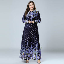 2019 New Winter Velvet Maxi Long Dresses Elegant Gold Stamping Floral Printing Muslim Dress BLUE PINK GREEN M - 4XL(China)