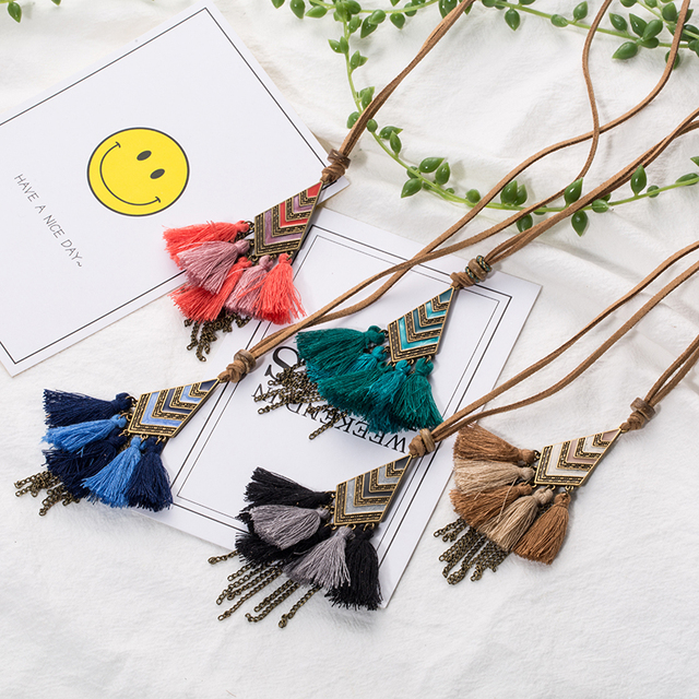 Sweater Chain Fringe Tassel Necklace