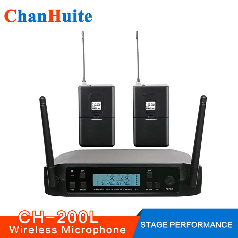 Wireless Lavalier Headset Microphone System UHF Vocal Microfone System Pro Cordless Mic for Stage Performance Bar Home karaoke