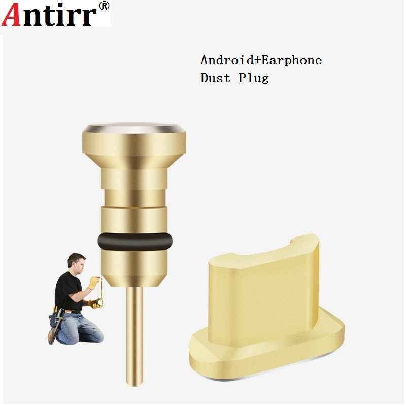 NEW 3.5mm Metal Micro USB Charging Port + Earphone Port Dust Plug Android Mobile Phone Headset Stopper Retrieve Card Pin