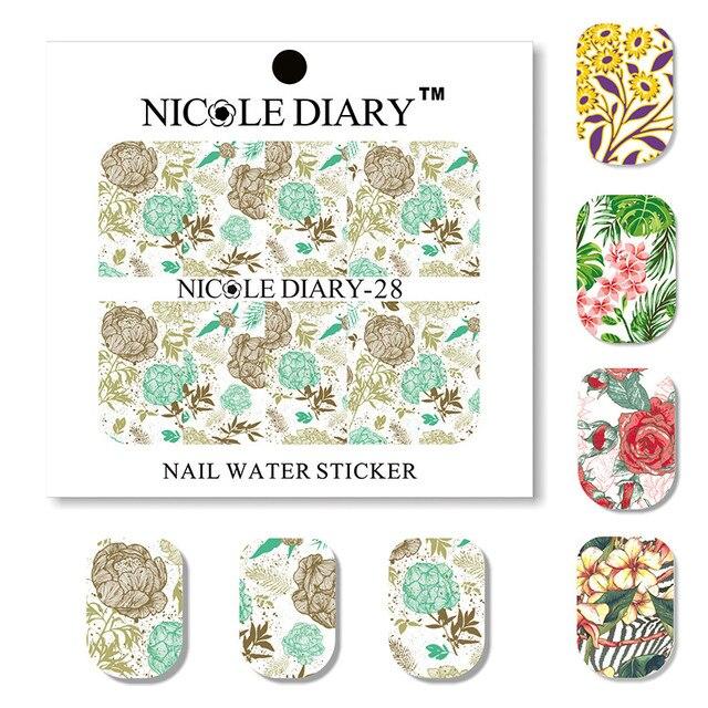5 hojas NICOLE diario Flor de agua serie etiqueta de arte de uñas transferencia de la etiqueta engomada de manicura