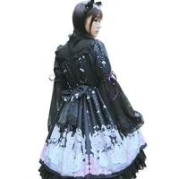 Autumn Japanese Cute Moe Swan Printed Bow String Chiffon Lolita Dress Female Kawaii Cascading Ruffle Lace