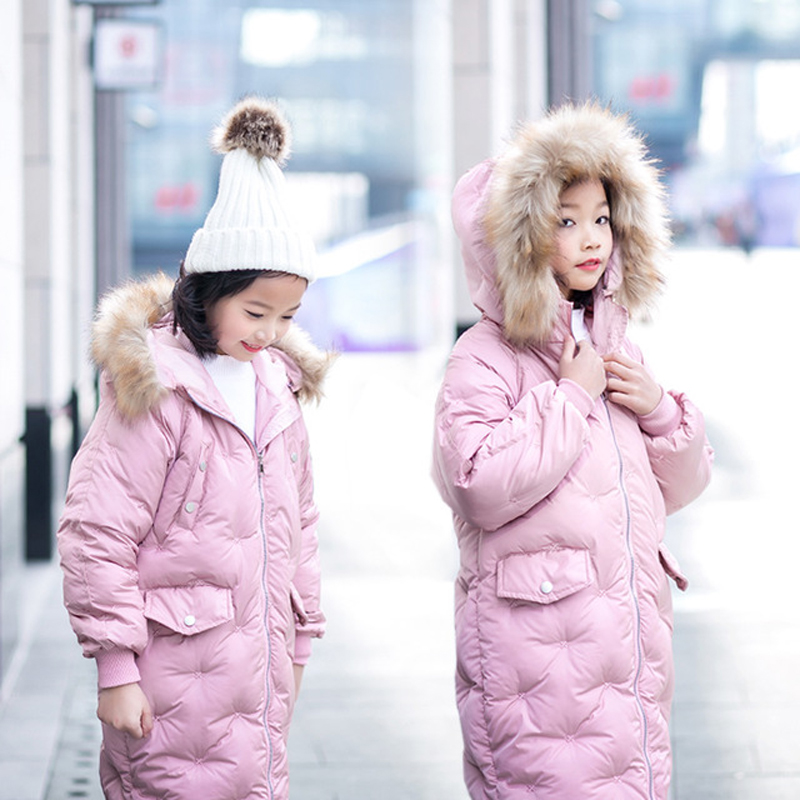Winter Jacket Girls New Fashion Long Coat Children Cotton Padded Parka Fur Collar Jackets For Girls Hooded Teenager Outwear TZ76 viishow new winter jacket men warm cotton padded coat mens casual hooded jackets handsome parka outwear men jaqueta masculino