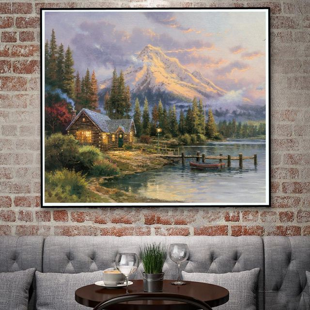 Thomas Kinkade Cottage Mountains Waterfall Bridge Art Silk Poster ...