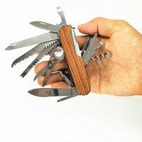 Sprzedaży Szwajcarski Nóż Składany Kieszonkowy Narzędzie Wielofunkcyjne Drewna Suvival Army Camping Wielofunkcyjny Zewnątrz Noże Ze Stali Nierdzewnej 17 w 1