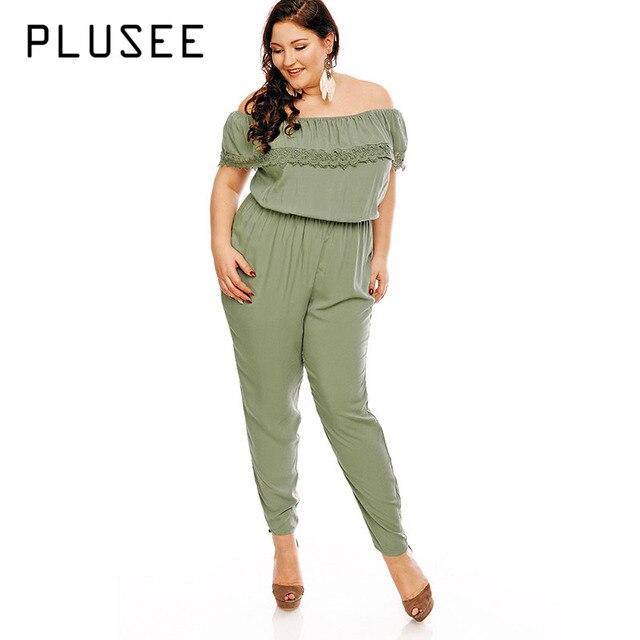 e30183c8877 Plusee Plus Size Jumpsuit 5XL Women Green Lace Strapless Plain Patchwork Jumpsuit  Slim Autumn Pencil Pants Plus Size Jumpsuit