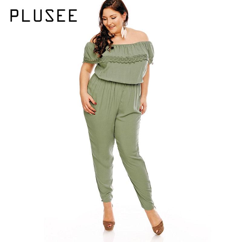 Plusee Plus Size Jumpsuit 5XL Women Green Lace Strapless Plain Patchwork Jumpsuit Slim Autumn Pencil Pants Plus Size Jumpsuit