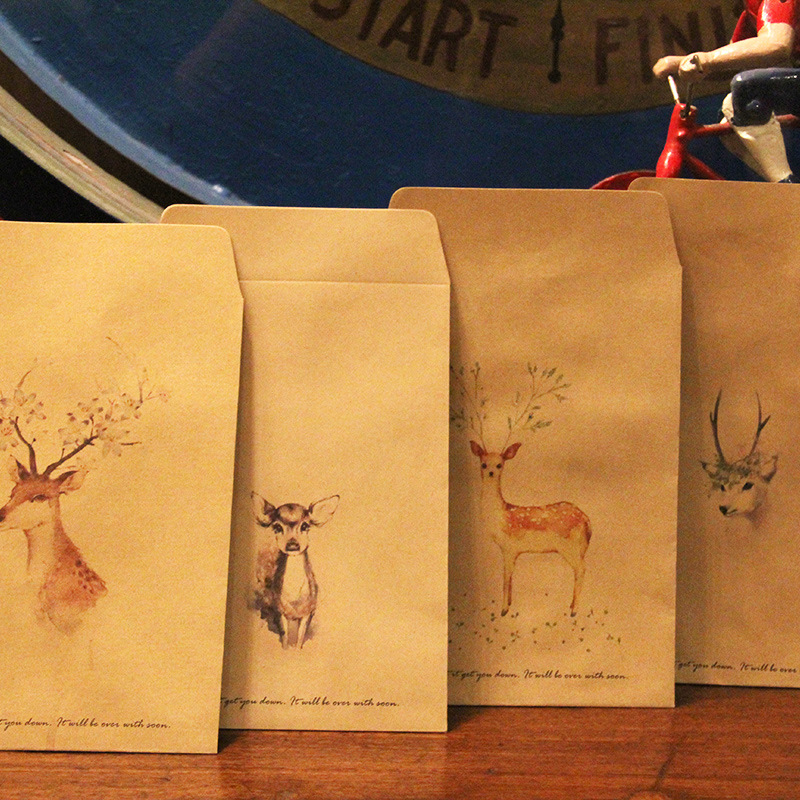 JIANWU 8pcs China Kazahana Invitation Envelopes Retro Deer Kraft Paper Small Fresh Hand-painted Sen Department Of Antiquity