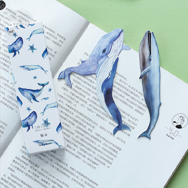30pcs box kawaii Whale Fish paper bookmark Korean cute bookmarks book holder message card school supplies papelaria in Bookmark from Office School Supplies